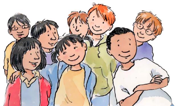 Group of kids looking happy